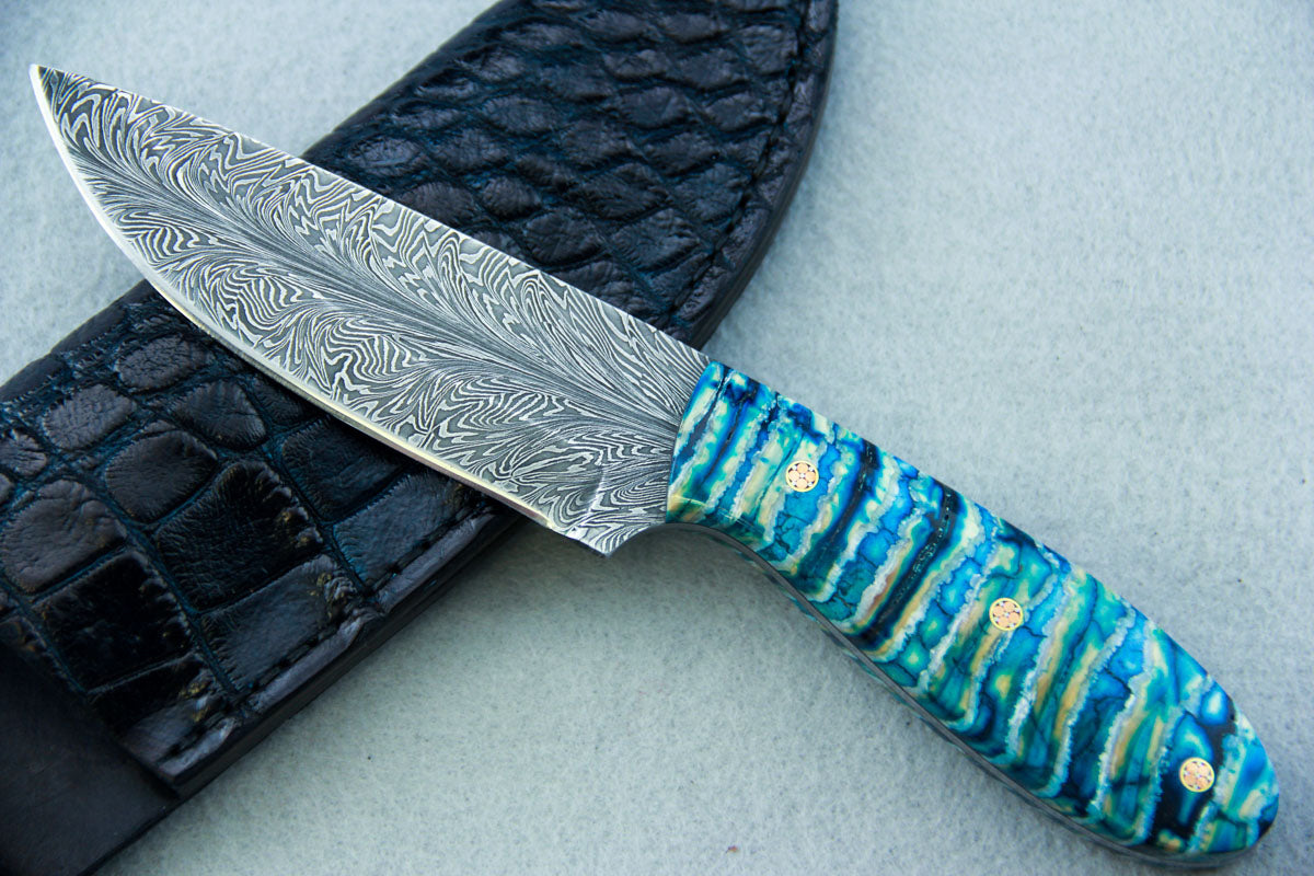 Sam Hawkins Feather Damascus Hunter