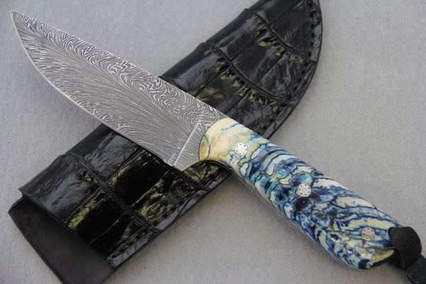 Sam Hawkins Feather Damascus Hunter Fixed Blade