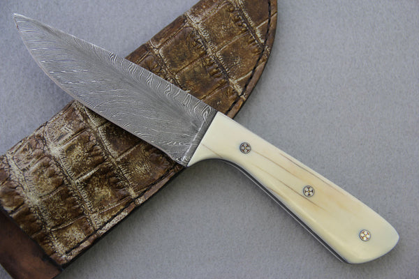 Sam Hawkins Feather Damascus Fixed Blade