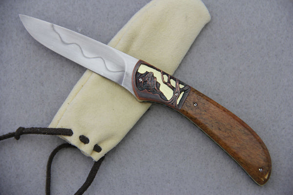 Theuns Prinsloo Liner Locking Flipper - Stained Giraffe Bone w/ Carving
