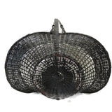 Vintage American wicker herb gathering basket, painted black (c 1940s)