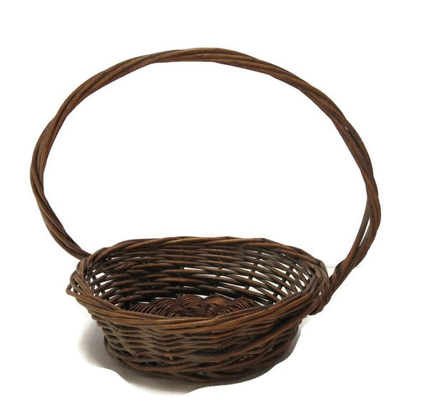 Vintage wicker woven gathering basket, American, offset twisted handle (c 1930s) - Selective Salvage