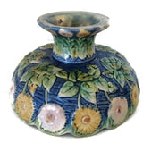 Antique footed Majolica Etruscan compote, GSH Co. (c 1880s) - Selective Salvage