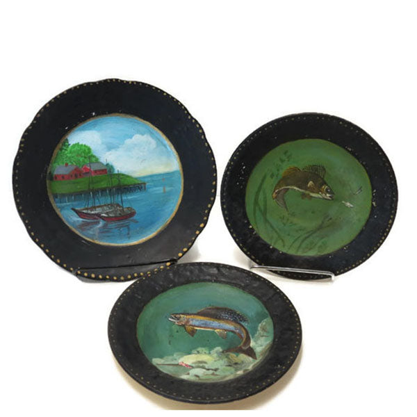 Vintage folk art painted fish plates, set of 3, signed Nellie B. Fish - Selective Salvage