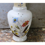 Vintage hand painted glass vase, fluted lip, floral design (c 1920s) - Selective Salvage