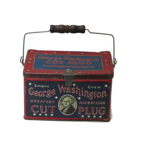 Vintage George Washington Cut Plug lunch box style tin - RJ Reynolds Co. - Selective Salvage