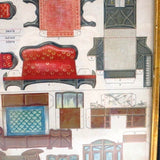 "Antique ""McLoughlin Bros."" paper doll furniture, uncut framed (c late 1800s) - Selective Salvage"