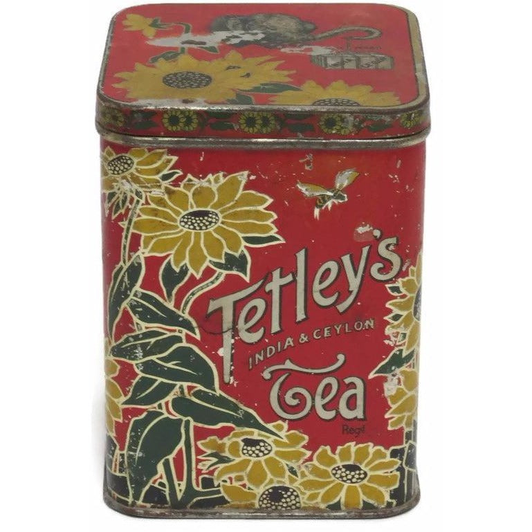 Vintage Tetley's India & Ceylon tea tin (c 1920s) - Selective Salvage