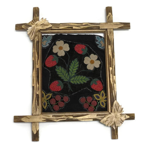 Vintage hand carved folk art frame, stylized, painted gold (c 1920s) - Selective Salvage