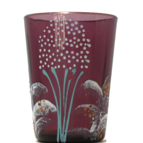 Antique Victorian purple glass tumbler, hand painted floral (c 1900s) - Selective Salvage