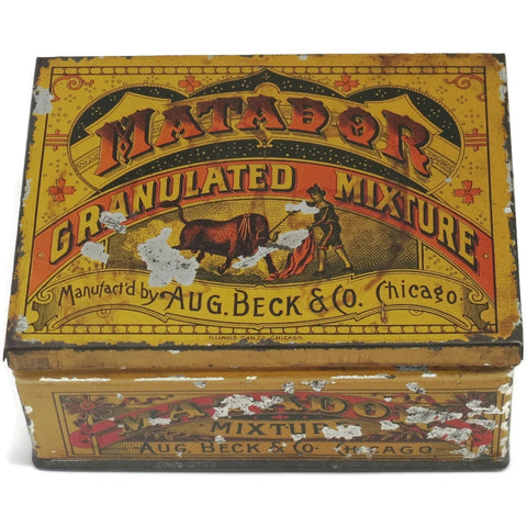 "Vintage ""Matador"" Aug. Beck tin,  (c 1930's) - Selective Salvage"