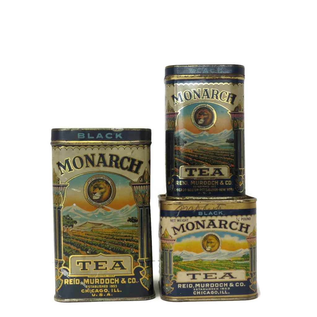 Vintage Monarch tea tins, Reid, Murdock & Co., set of three (c 1930s) - Selective Salvage