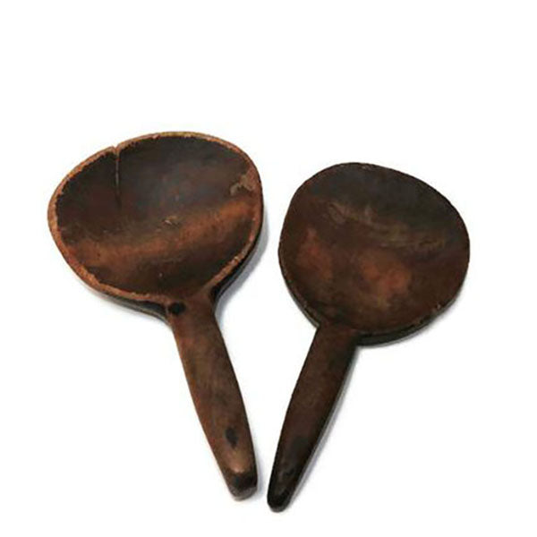 Two primitive wooden butter paddles, hand carved, bowl hook handles (c late 1800s) - Selective Salvage
