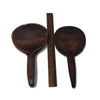 Two antique primitive wooden butter paddles, hand carved, bowl hook handles (c late 1800s) - Selective Salvage