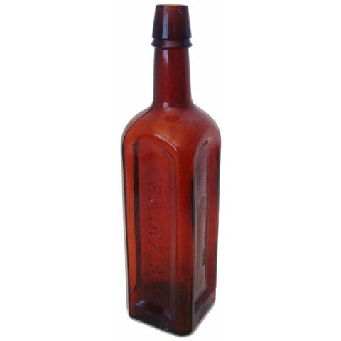 "Antique square mold, deep amber ""PAINES CELERY COMPOUND"" bottle (c 1900s) - Selective Salvage"
