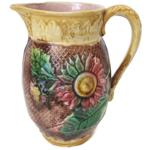 Antique Majolica water pitcher, stylized sunflower pattern, pink interior (c 1800s) - Selective Salvage