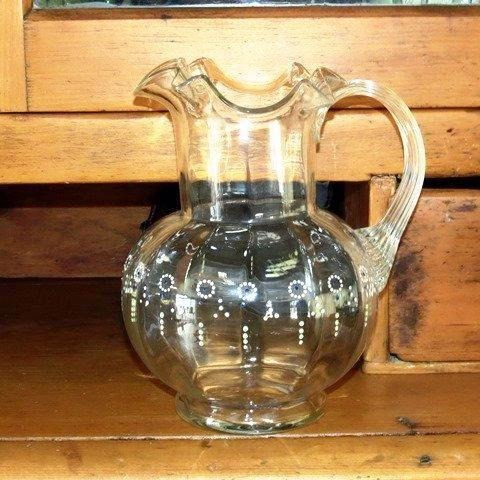 Antique cottage style glass pitcher, fluted lip, hand painted (c 1900s) - Selective Salvage