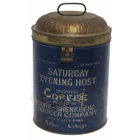 """Saturday Evening Host"" commercial store coffee tin, Sioux City, IA (c 1900s) - Selective Salvage"