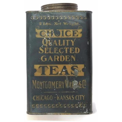"Montgomery Wards & Co. ""Choice Teas"" tin, Chicago - Kansas City (c 1920s) - Selective Salvage"