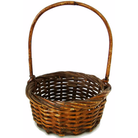 Vintage wicker gathering basket, American, hand woven (c 1920s)