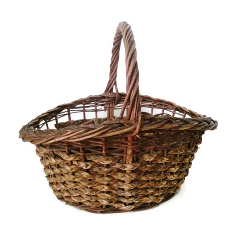 Vintage gathering basket, American, wicker & splint (c 1940s) - Selective Salvage