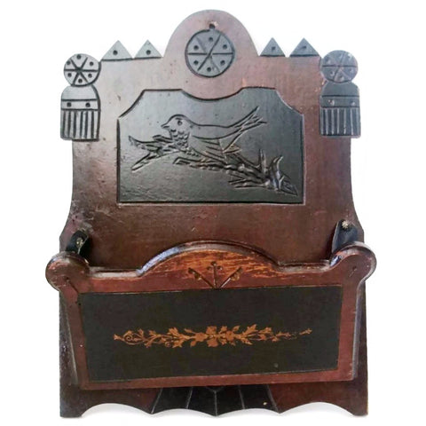 Antique folk art walnut wall box, OOAK hand carved bird detail (c 1900s) - Selective Salvage