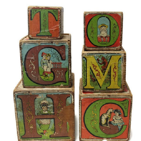 Set of 6 antique Victorian paper covered stacking alphabet blocks (c 1890s) - Selective Salvage