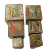 Set of 6 Victorian paper covered stacking alphabet blocks (c 1890s) - Selective Salvage