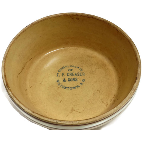 Antique Red Wing Saffron Ware advertising bowl, Watertown, SD (c 1920s) - Selective Salvage