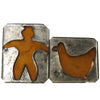 Two antique flat backed tin soldered cookie cutters, standing man and duck (c 1900) - Selective Salvage