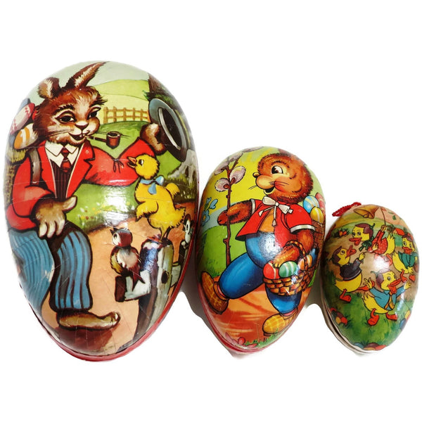 Vintage paper mache Easter eggs, (qty 3),  West Germany (c 1940s) - Selective Salvage