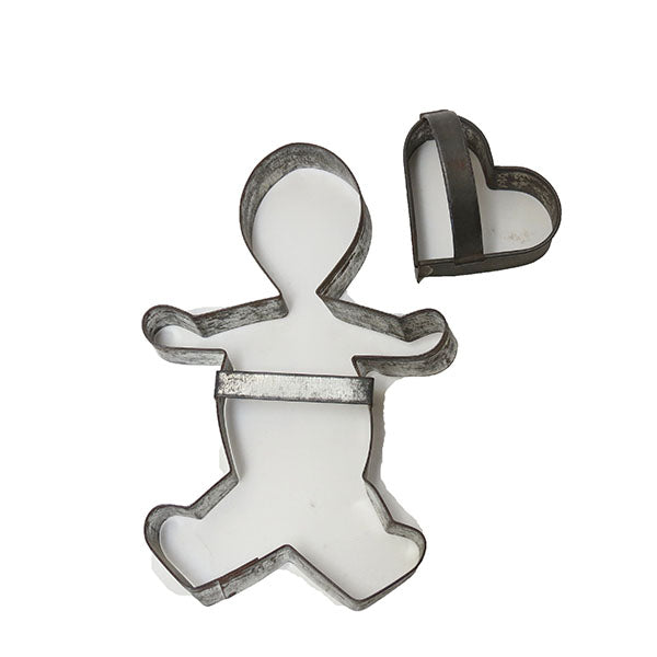 Two antique open tin cookie cutters, gingerbread man and heart shapes (c 1900) - Selective Salvage