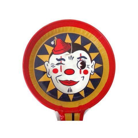Vintage T Cohn Halloween noisemaker, smiling clown face (c 1950s) - Selective Salvage