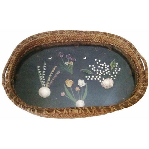 Vintage serving basket, folk art floral shell diorama under glass (c 1930s) - Selective Salvage