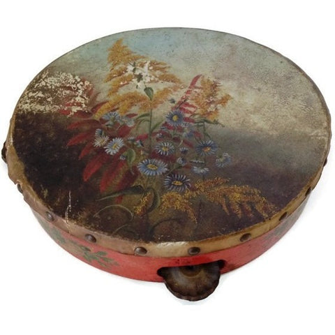 Antique  hand painted tambourine,  early American (c early 1900s) - Selective Salvage