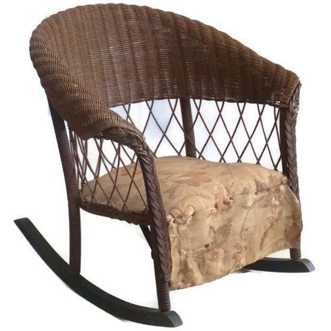 Vintage wicker child's rocker, photography prop (c 1930s) - Selective Salvage