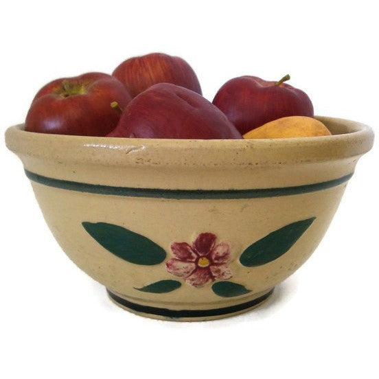 "Vintage Yellowware Watt #9  bowl, ""Raised Pansy"" design (c 1930s) - Selective Salvage"