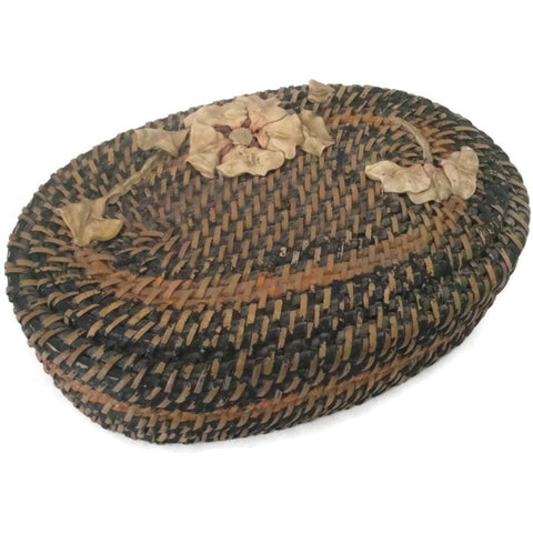 Vintage wicker sewing basket with applied design (c 1930s) - Selective Salvage