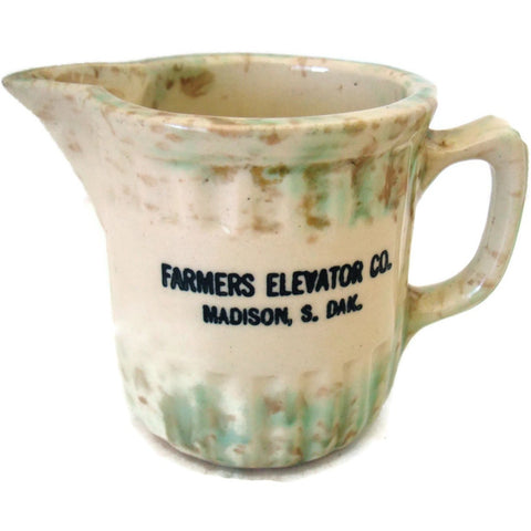 Antique spatterware country store pitcher, Madison SD (c 1900s) - Selective Salvage