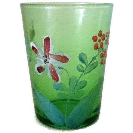 Antique Victorian green floral hand painted glass tumbler,  (c 1900s) - Selective Salvage