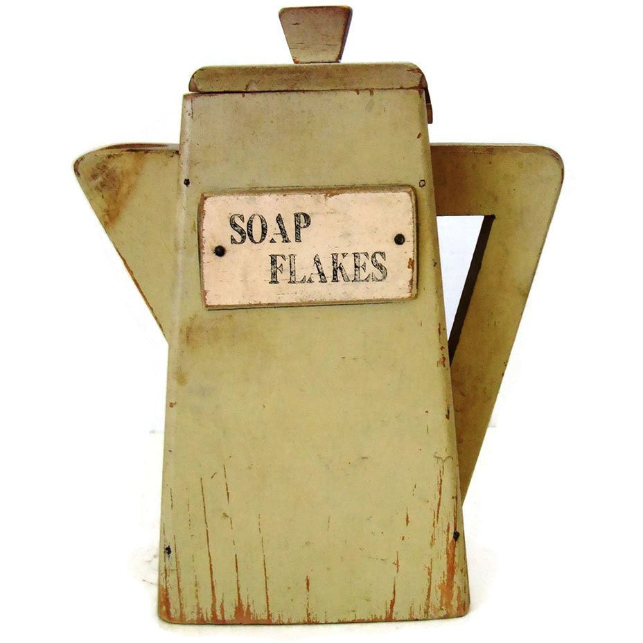 "Vintage folk art ""Soap Flakes""container,  American (c 1930s) - Selective Salvage"