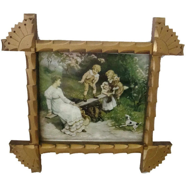 "Antique folk art frame containing ""Mother Love"" print, hand carved with original gold paint (c 1900s) - Selective Salvage"