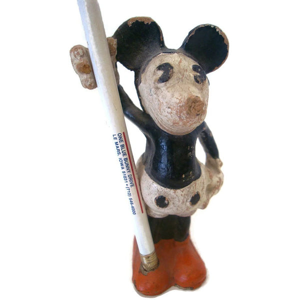 Vintage Dixon Mickey Mouse pencil holder, composition (c 1930s) - Selective Salvage