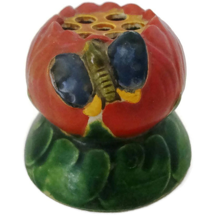 Vintage ceramic flower frog, tomato shaped (c 1930s) - Selective Salvage