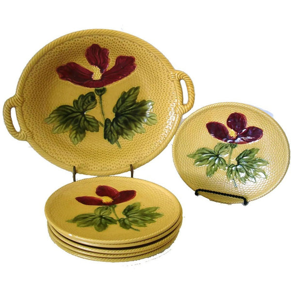 Antique Zell Hibiscus Majolica salad bowl & six plates, lemon yellow (c 1900s) - Selective Salvage