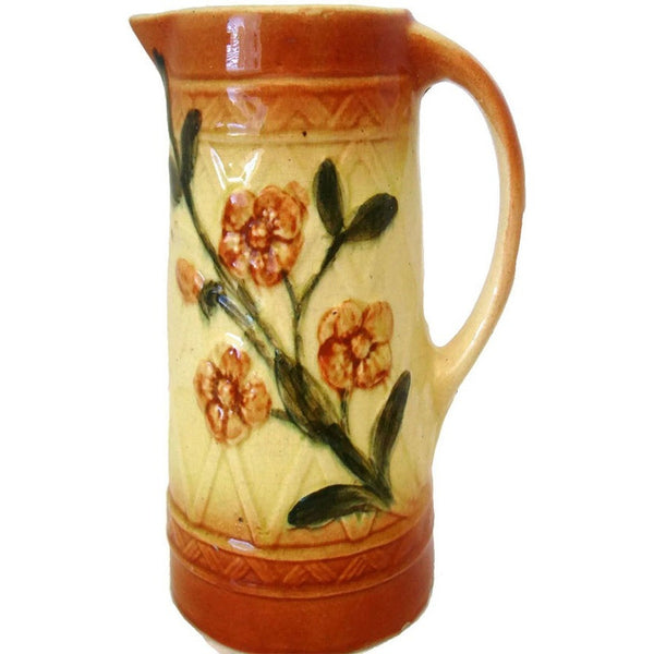 Antique stoneware pitcher, dogwood design (c early 1900s) - Selective Salvage