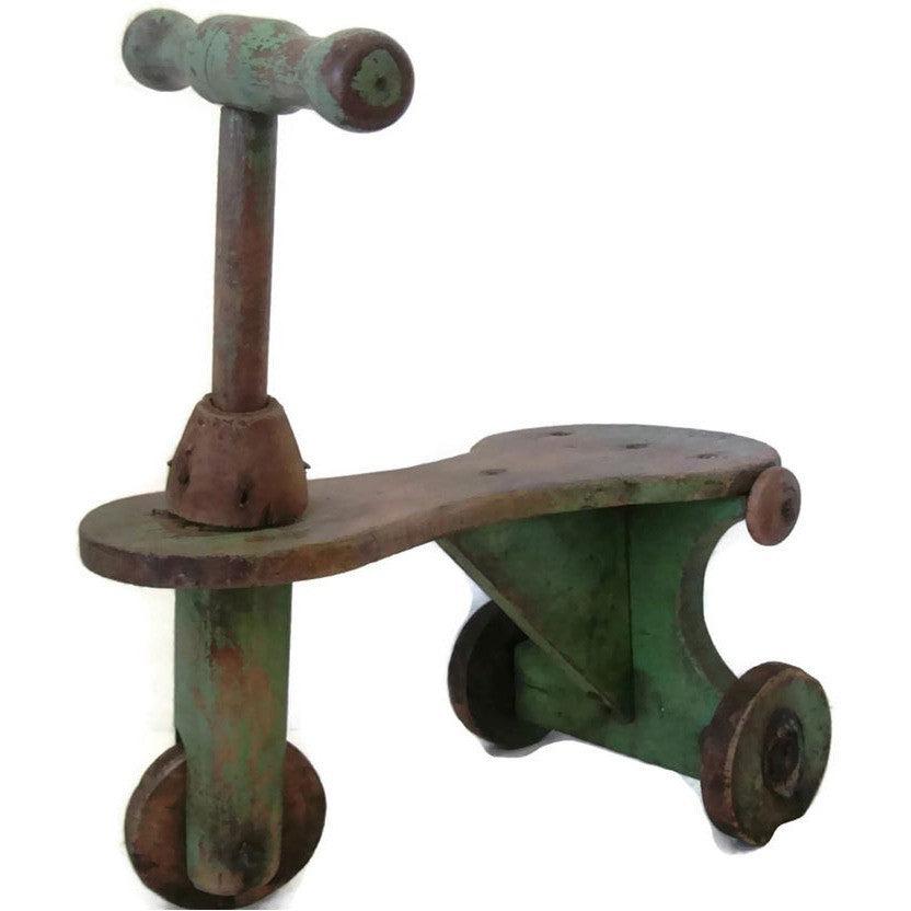 Antique folk art child's scooter, handmade OOAK (c 1900s)