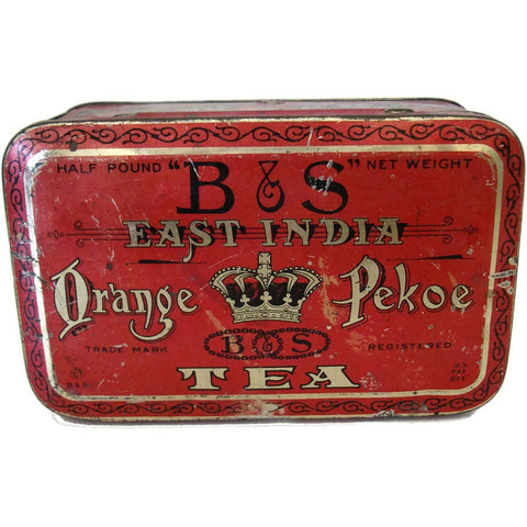 "Vintage ""B & S Bleeker and Simmons"" orange pekoe tea tin (c 1920s)"