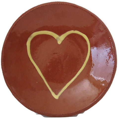 Vintage redware heart dish, attributed to Steve Nutt (c 1990s) - Selective Salvage