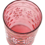 Antique Victorian pink glass tumbler, hand painted, deep rosy pink (c 1900s)